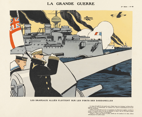 Eduardo Garcia Benito (1891-1981)  Notre artillerie lourde... Allied flags fly on the forts of the Dardanelles  Woodcut with hand colouring through stencils. Publisher: Tolmer & Co. 1915. Given by Sophie Gurney 1994