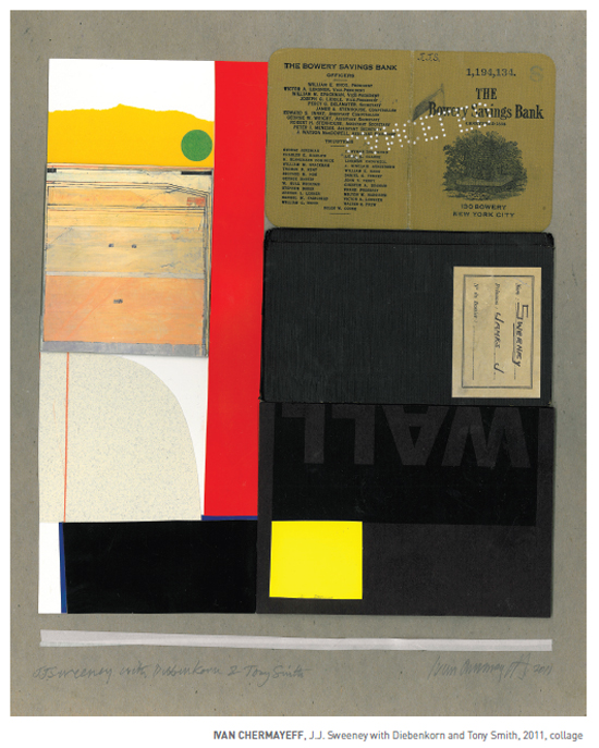 Ivan Chermayeff, J.J. Sweeney with Diebenkorn and Tony Smith, 2011, Collage