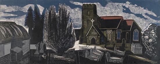 Edward Bawden, Lindsell Church, Essex, 1959