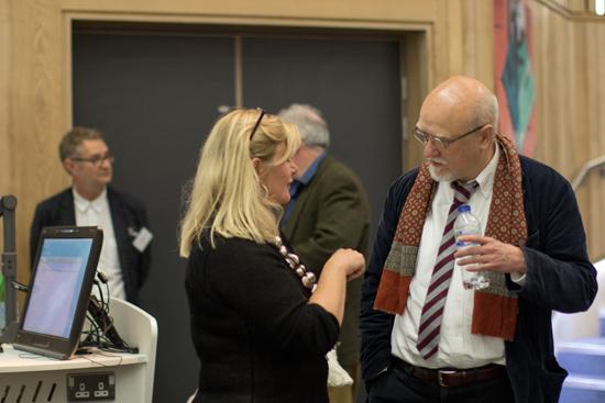 Paul Slater talking to Jo Berry