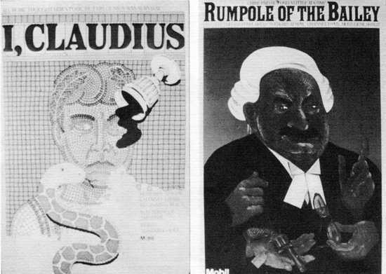 Posters for I Claudis and Rumpole Of The Bailey for Mobil Oil
