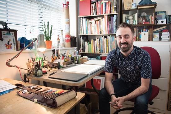 Payback-artist-and-illustrator-Benji-Davies-in-his-studio.-Photo-©-Brian-Benson,-2016.-Image-courtesy-DACS.