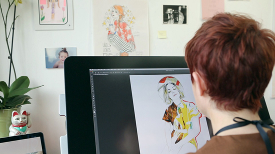 Miss Led wacom illustration for fashion