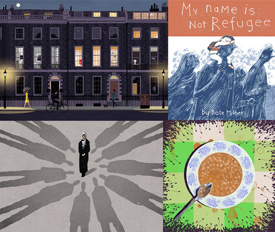 Left to right: Jason Brooks, London Sketchbook, published by Laurence King, London, 2015; Kate Milner, 'My Name is not Refugee', Anglia Ruskin - Cambridge School of Art; Bill Bragg, illustrations for 'But Today I am Afraid' by Masuma Rahim, published In The Guardian, 1 December, 2015; Joan Alturo, 'Morts et Vita', Arts University Bournemouth