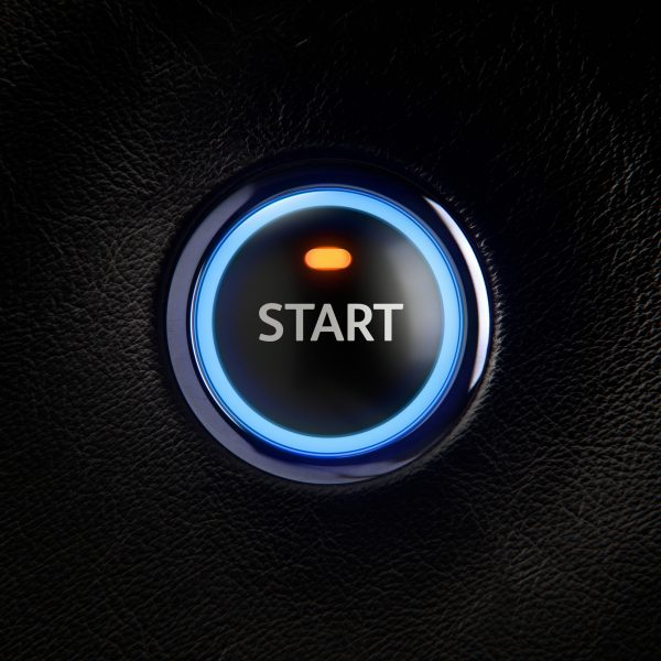 Ignition START Button Leather Car Dashboard