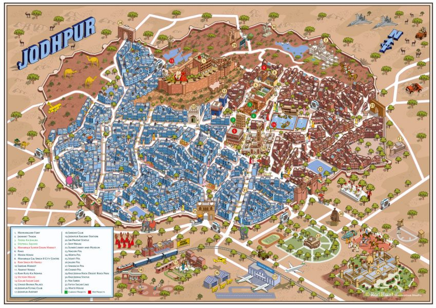 Jodhpur Urban Regeneration City Map Illustration