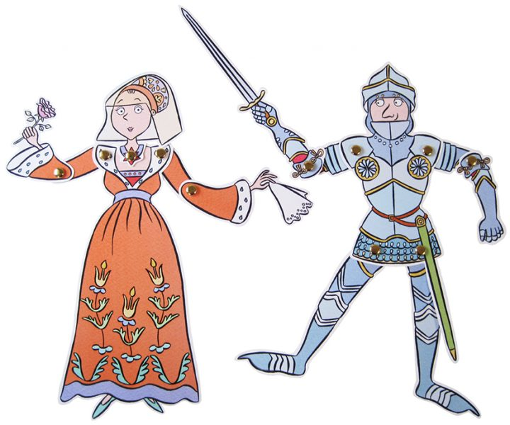Stephanie-Strickland-Medieval- knight-and-queen-jointed-puppets