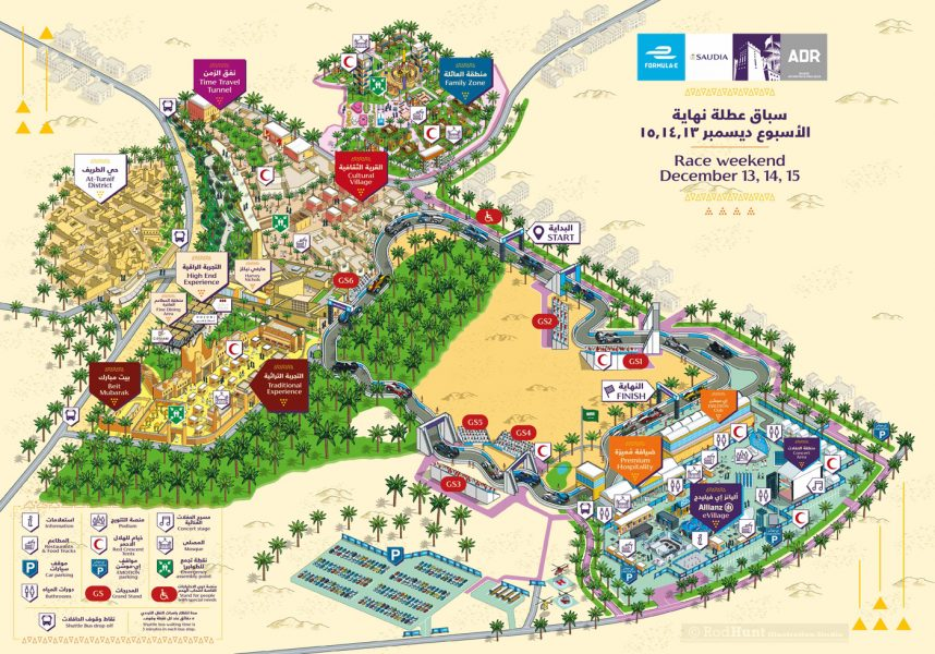 Formula E 2018 Saudia Ad Diriyah E-Prix Event Map Illustration