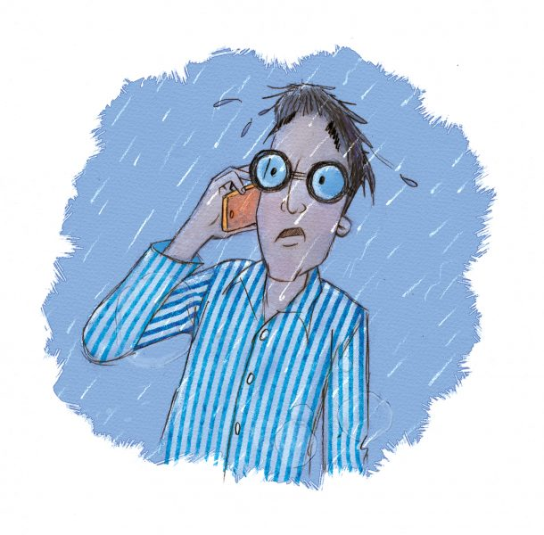 Character, man, spectacles, man on phone