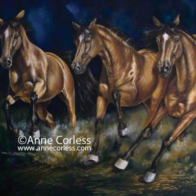 Escaping The Storm; equine art