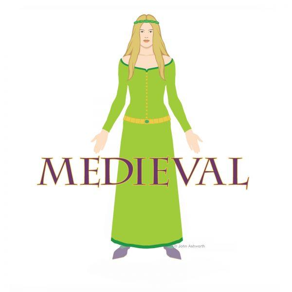 John Ashworth Medieval Lady Female figurative History Romance Icon Symbol Logo Brand