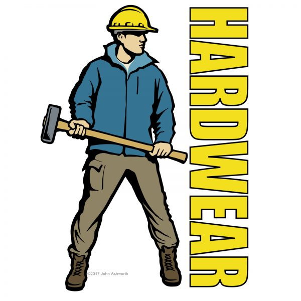 John Ashworth Hardware Logo Male workman realistic figurative character industrial urban construction building engineering architecture environment icon brand
