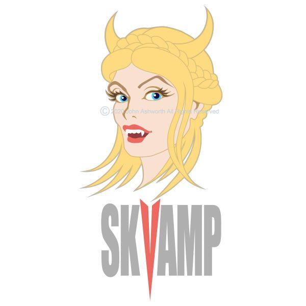 SKVAMP ©2020 John Ashworth: Memorable / Female / Character / Beauty / Youth / Brand / Logo / Icon / Symbol / Fun / Cheeky / Fashion / Blonde / Vampire / Scandinavian / Digital / Vector / Hand Drawn / Lettering/