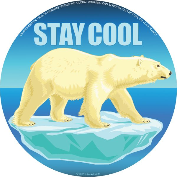 STAY COOL Polar Bear Animal Environment Nature Icon Brand Logo ©2018 John Ashworth rgb