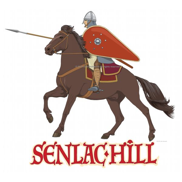 Senlac hill  History Realistic Figurative Norman Warrior Horse Animal Educational Logo Icon Brand ©John Ashworth