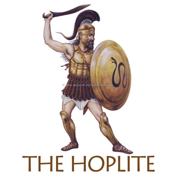 The Hoplite Warrior History Ancient Greek figurative Realistic Military Icon Educational Logo Brand ©John Ashworth
