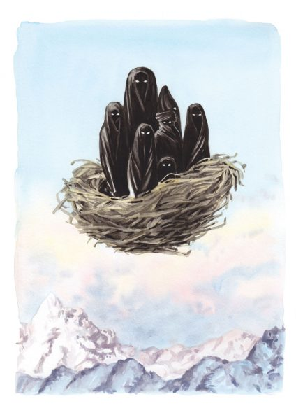 Figures flying in a bird's nest - Michael Ende