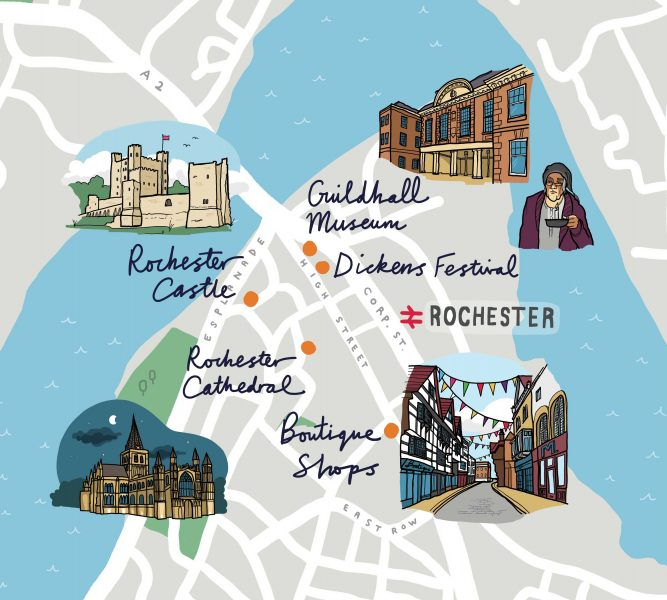 Illustrated Map of Rochester for Southeastern Trains