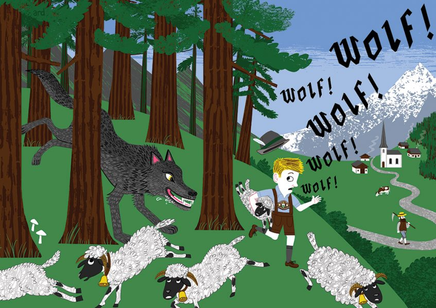 The Boy who cried Wolf! - An illustration of Aesop's Fable