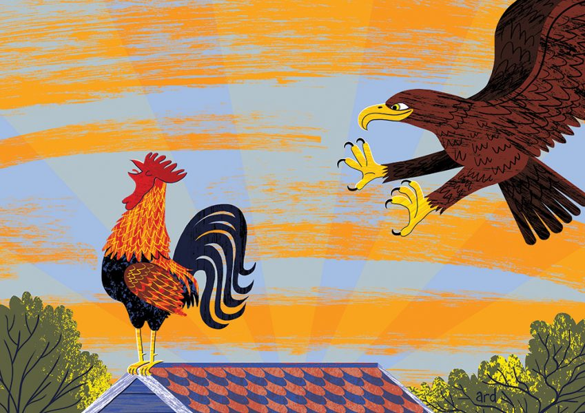 The Proud Cockerel - An illustration of Aesop's Fable