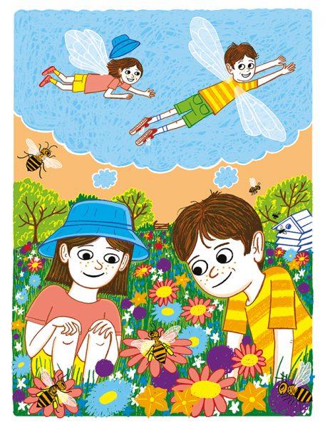 Two Children - An illustration of a Spike Milligan poem