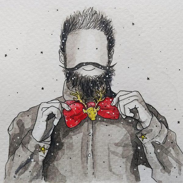 Bearded Man wearing Christmas Bow Tie_72dpi_40cms