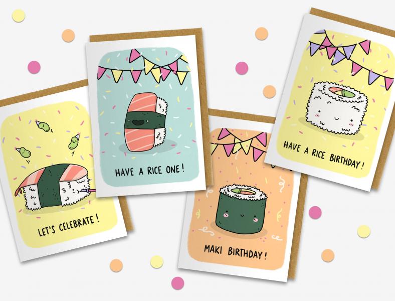 Rice Friends Birthday Cards