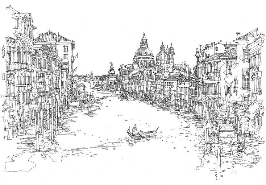 Venice line drawing abi daker