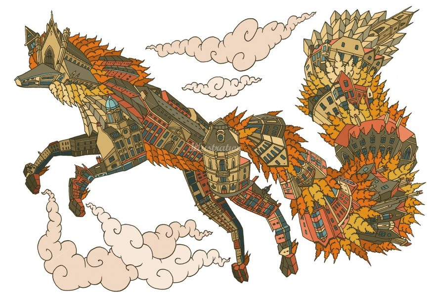 cityscape-wolf-animal-illustration