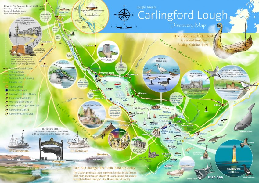 Loughs Agency Carlingford Lough Discovery Illustrated Map
