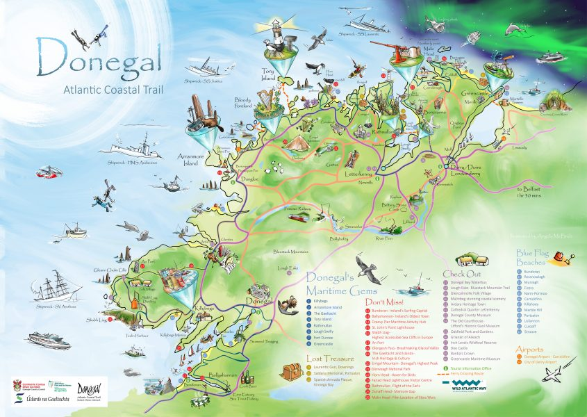 Donegal Atlantic Coastal Trail Illustrated Map