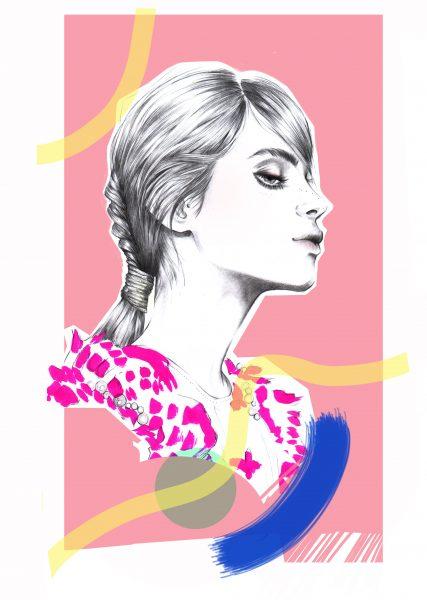 Pink hair beauty illustration