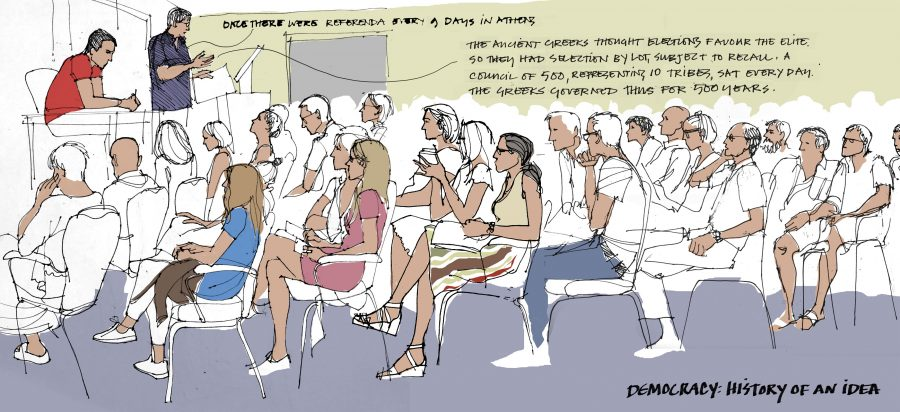 Reportage illustration - lecture audience