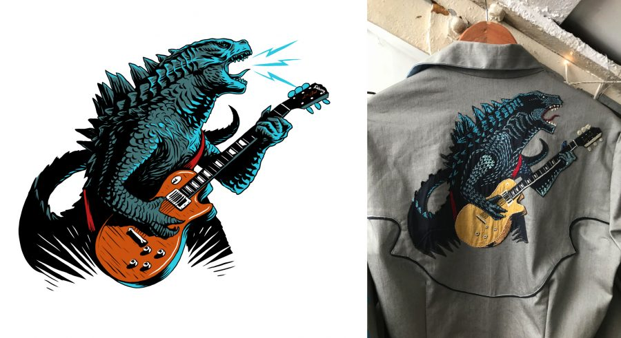 Godzilla Jamming Embroidery / Thunderstrand