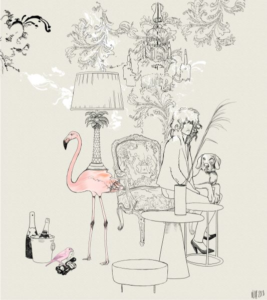 Flamingo and Champagne / Living Room