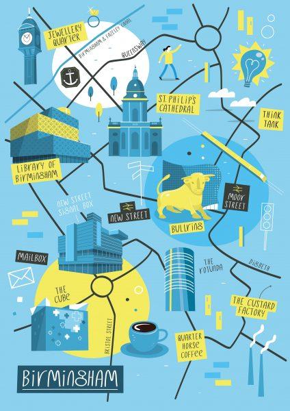Illustrated map of Birmingham
