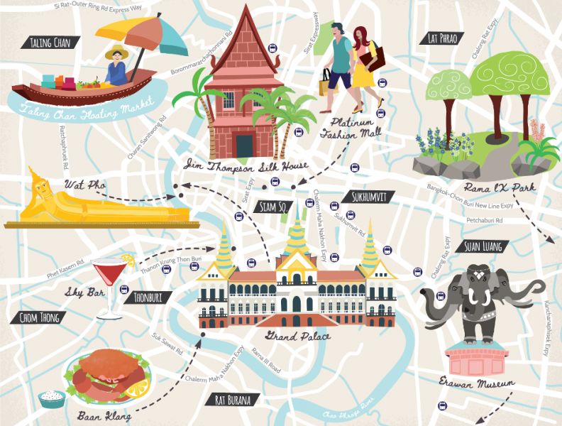 Illustrated Tourist Map of Bangkok
