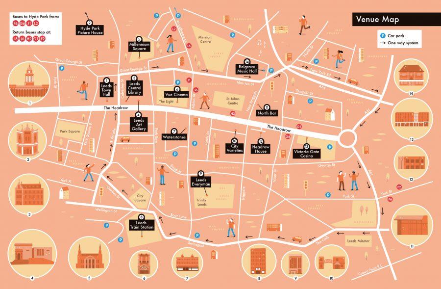 Venue map of Leeds for Leeds Film Festival