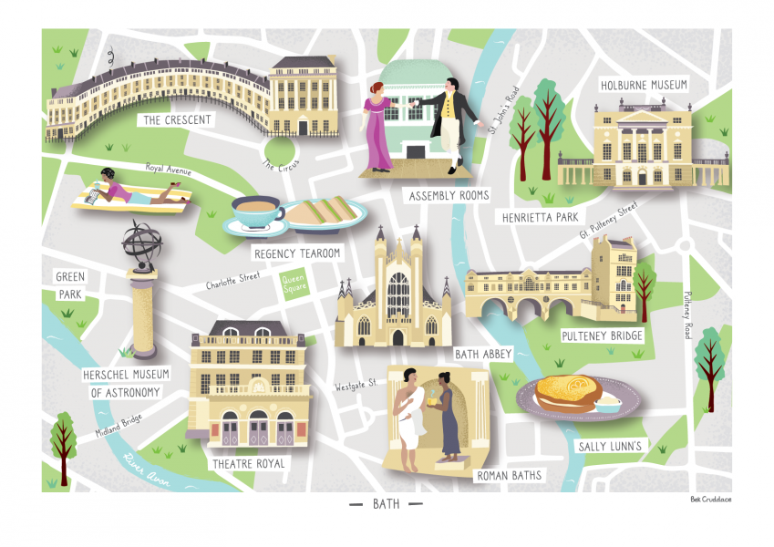 Illustrated Map of Bath