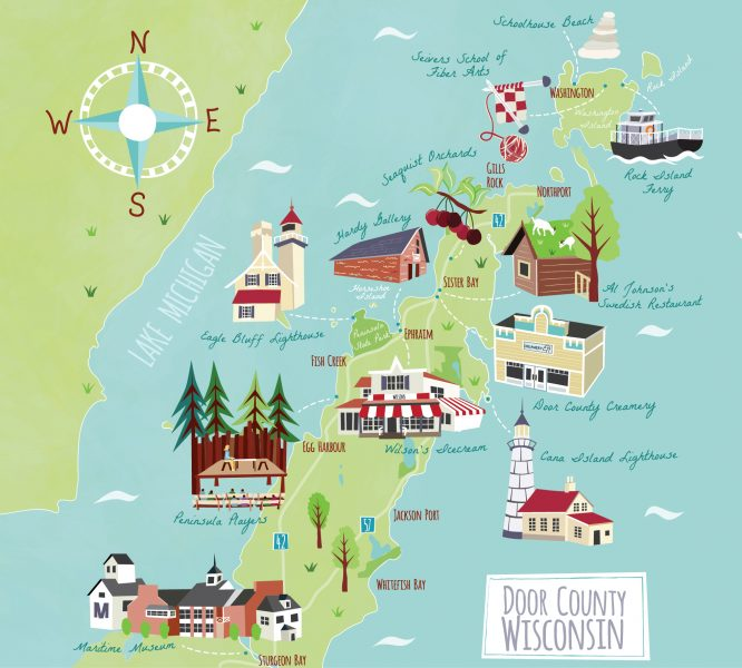 Illustrated map of Door County for LandsEnd Clothing