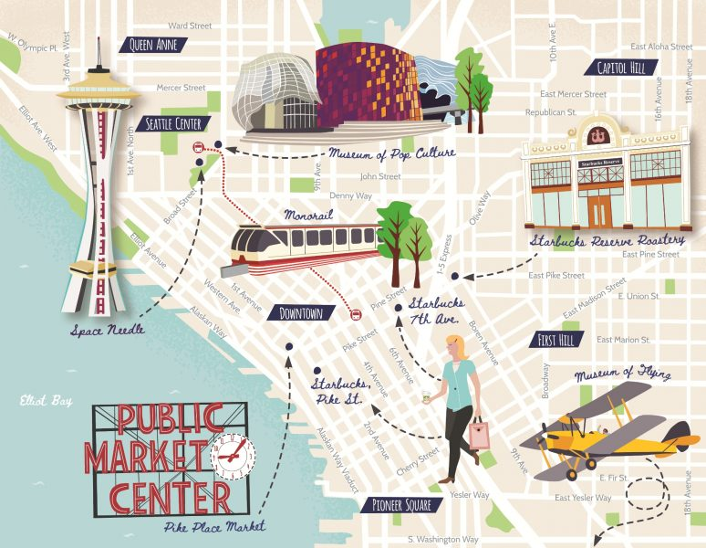 Illustrated map of Seattle