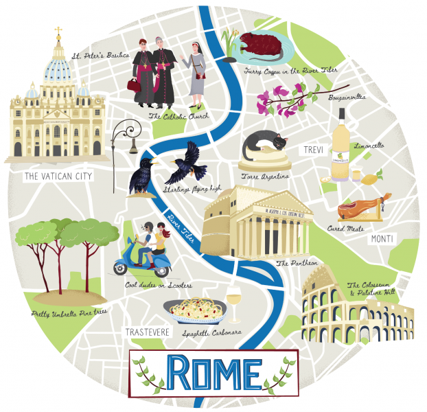 Illustrated map of Rome