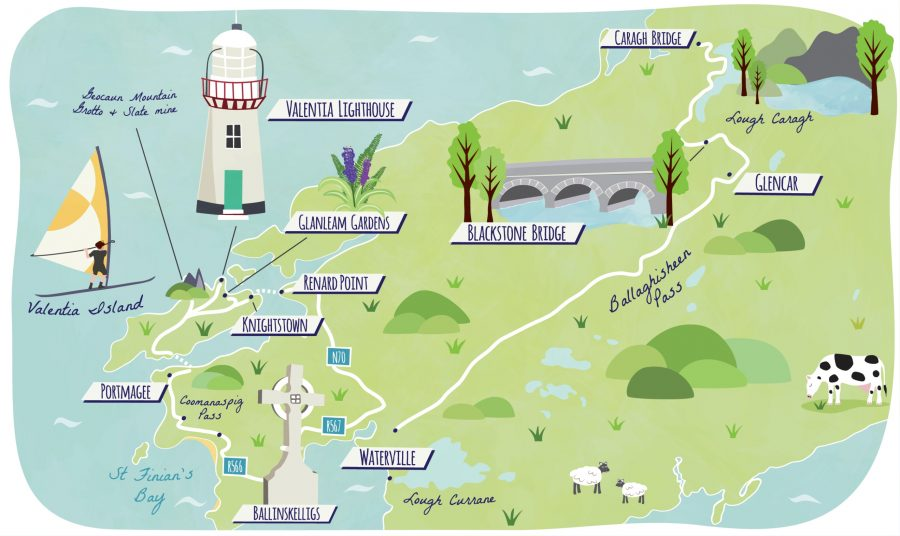 Illustrated map of Ireland Road Trip for Guardian Travel