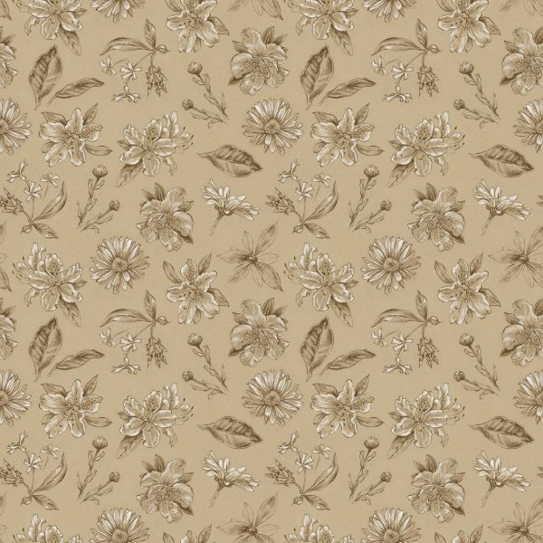 Tan Botanical Sketch Pattern