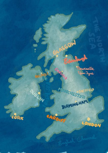 UK map with hand drawn type