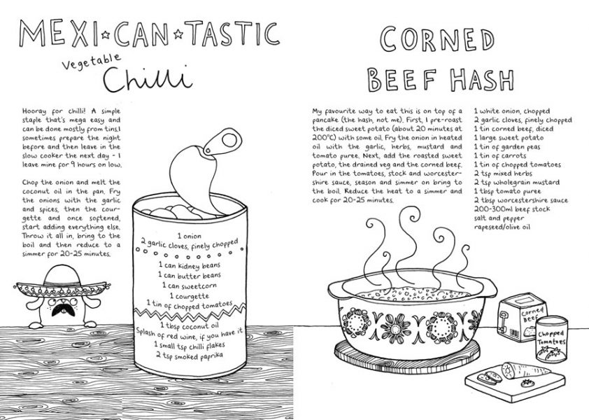 Spread from The Cantastic Cookbook - a cookbook zine for my Etsy shop