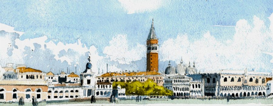 San Marco from Giudecca DG Watercolour