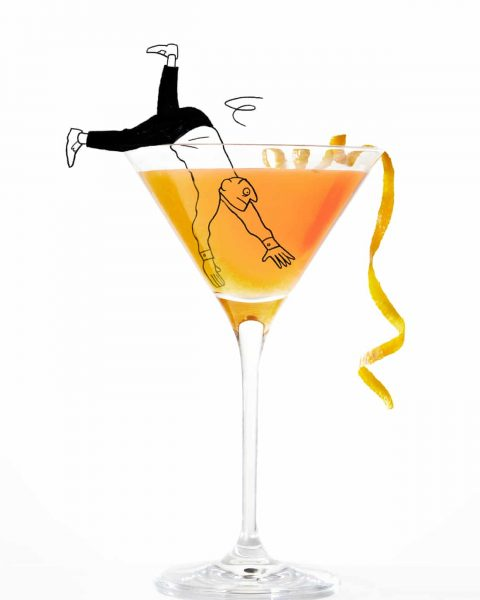 The-Guardian-Weekend-Jonny-Glover-Woman-Man-swimming-cocktail-drink-alcohol-martini-character-illustration-jonny-glover