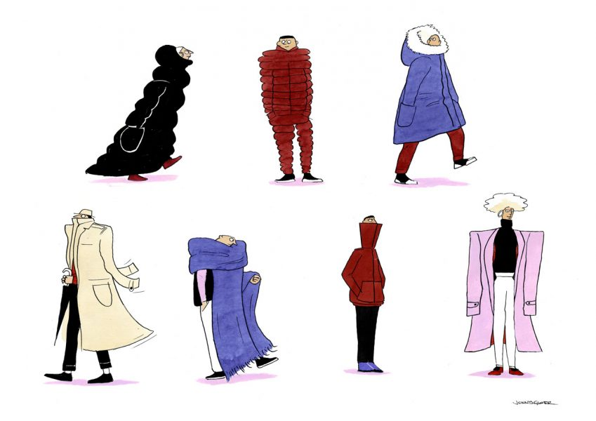 Winter-Coats-Jonny-Glover-Illustration-Characters-Cartoon-Coats-Fashion-Warmers-Cold-Puffer