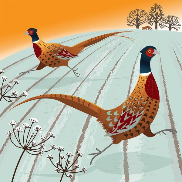 Dashing pheasants and fox